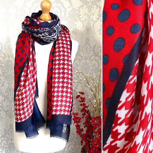 navy, red, dotty, patterned, scarf
