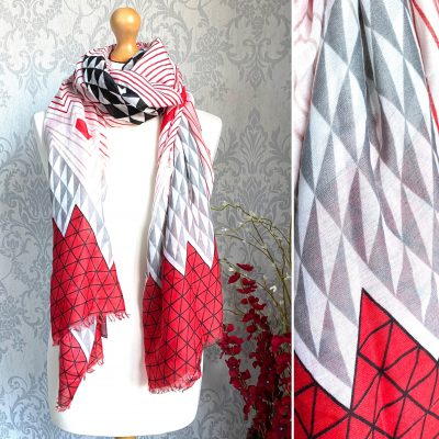 red and grey, triangles, scarf