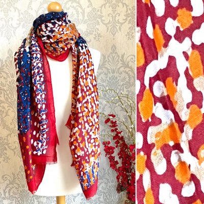 reds, blues, vibrant, scarf