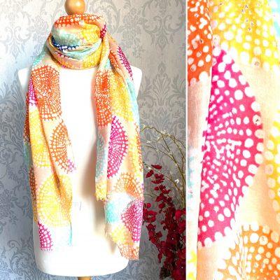 vibrant, oranges, circles, scarf