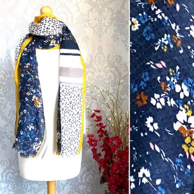 Yellow , navy, floral, scarf