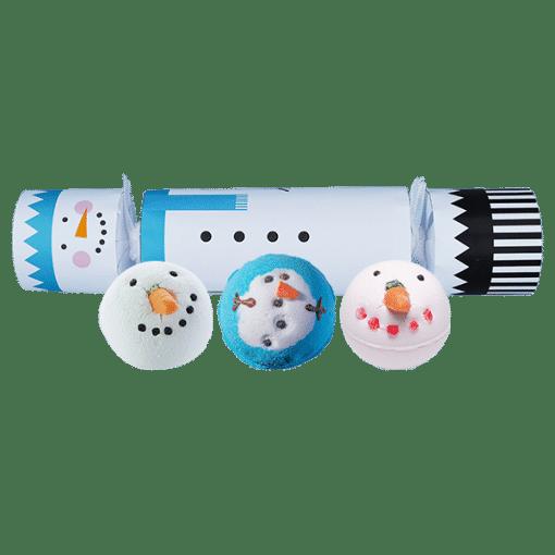snowman, bath bomb, cracker