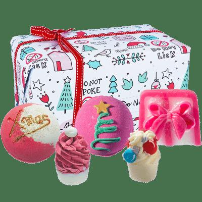 christmas, gift box, bath