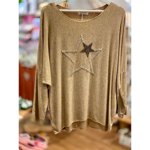 Dark mustard, supersoft, sparkle, star jumper
