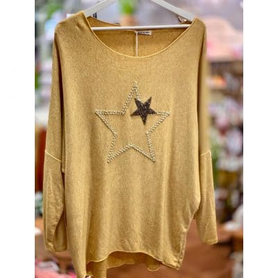 Mustard , super soft, jumper, star, sparkle
