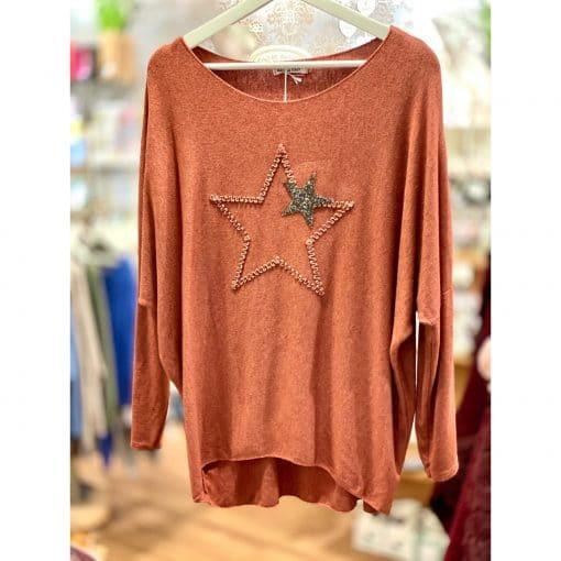Orange , super soft, jumper, star, sparkle