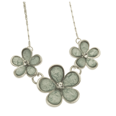 aqua, flower, short necklace, necklace, miss milly, fn165