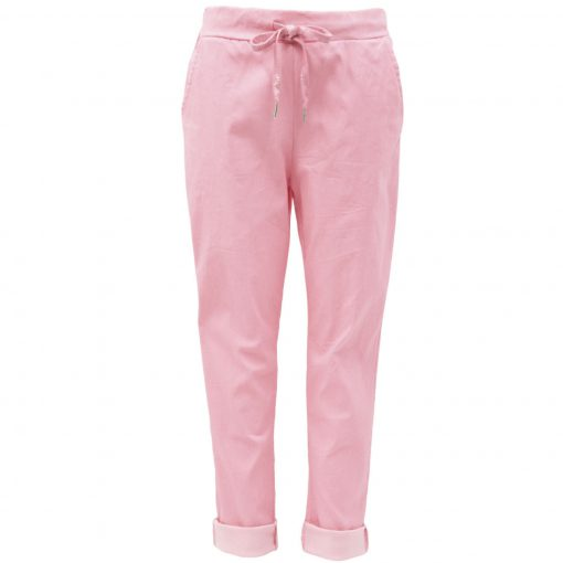 Baby pink, plain, stretchy, magic trousers, joggers