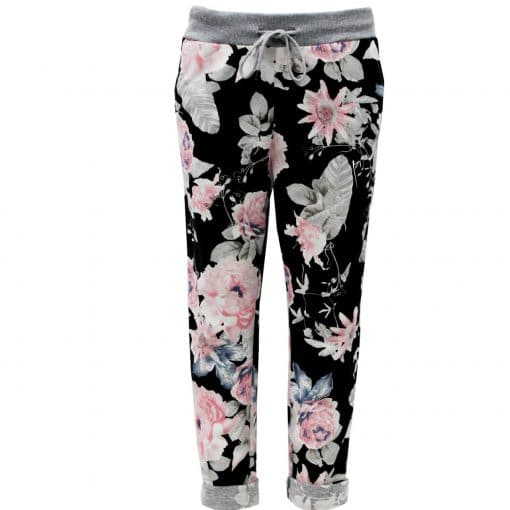 black, rose bouquet, stretchy, magic trousers, joggers