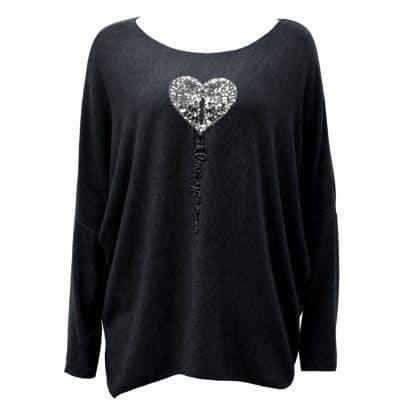 black, super soft, knit, jumper, heart
