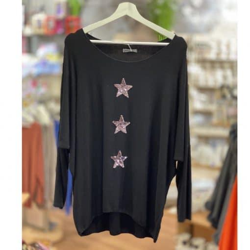 Black, super soft, jumper, triple star, sparkle