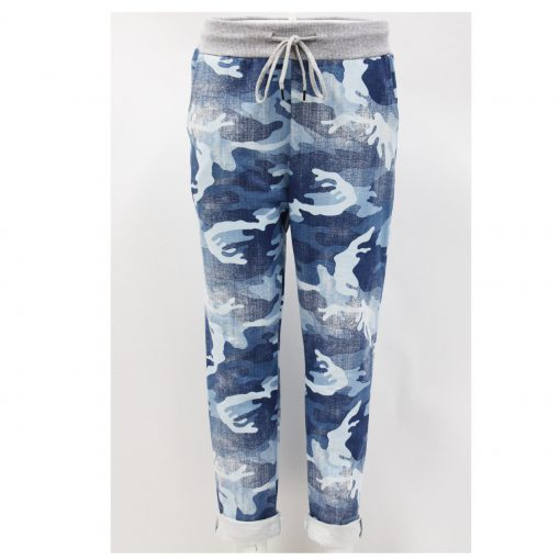 camo, blue , stretchy, magic trousers, joggers