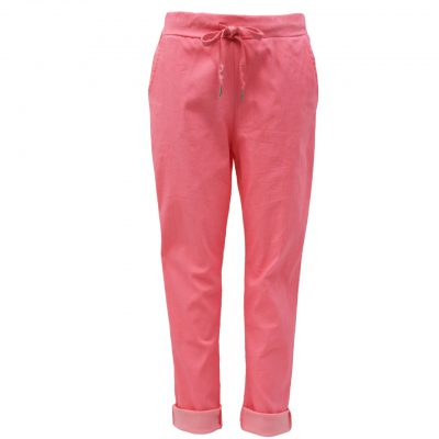 Coral , plain, stretchy, magic trousers, joggers