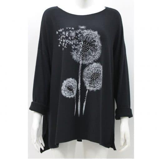 Black, super soft, jumper, dandelion, sparkle