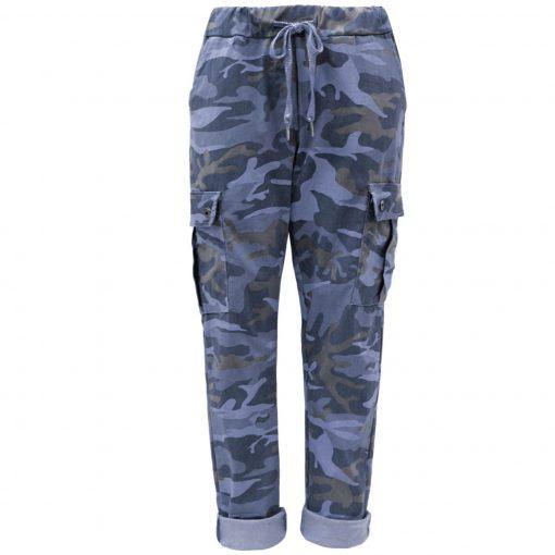 Denim blue, camo, cargo, stretchy, magic trousers, joggers