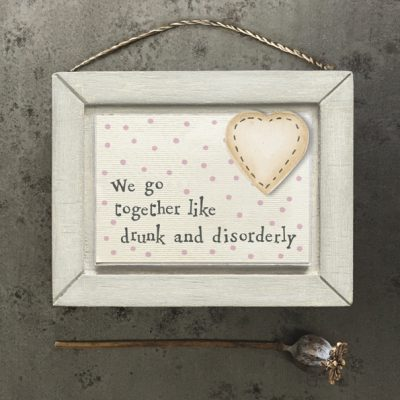 east of india, little wooden picture, drunk & disorderly, plaque