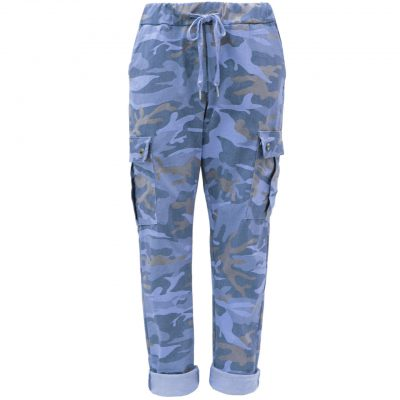 faded blue, camo, cargo, stretchy, magic trousers, joggers