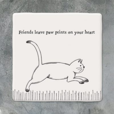 East of India, ceramic, porcelain, coaster, friends, pawprints on your heart, cat, cat coaster