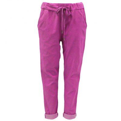 Fuchsia , plain, stretchy, magic trousers, joggers