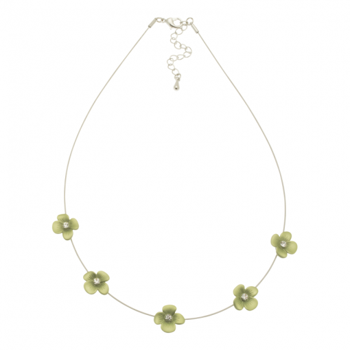 green, forget me not, short necklace, necklace, miss milly, fn154