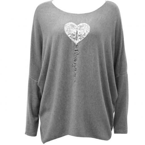 Grey , super soft, jumper, heart, sparkle