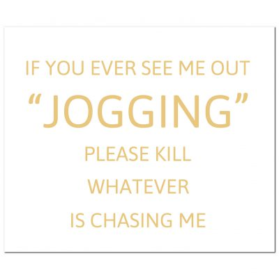jogging, chased, sign, plaque