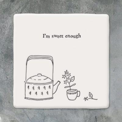 East of India, ceramic, porcelain, coaster, i'm sweet enough coaster