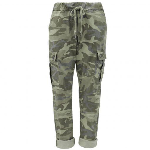 Khaki, camo, cargo, stretchy, magic trousers, joggers