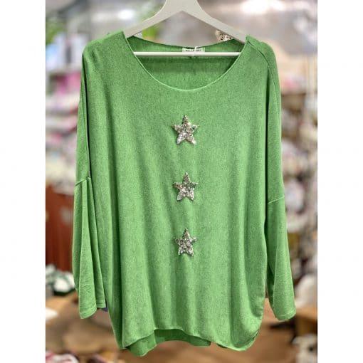Lime green, super soft, jumper, triple star, sparkle