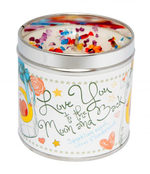 love you to the moon & back candle, tinned candle, Sparkling, neroli, citrus, sandalwood, scented candle