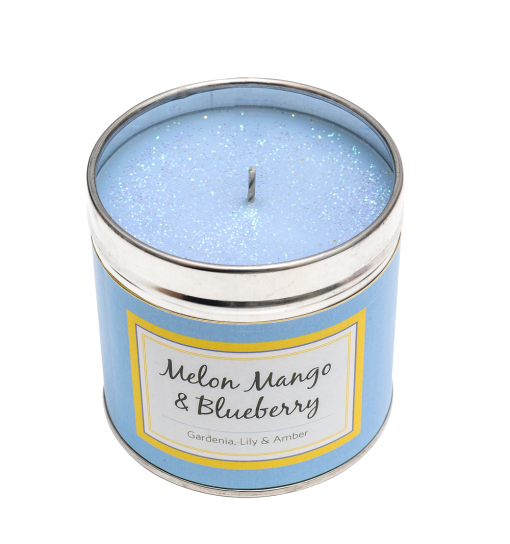 Melon, mango & blueberry candle, tinned candle, scented candle