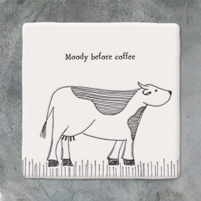 East of India, ceramic, porcelain, coaster, moody before coffee, cow coaster