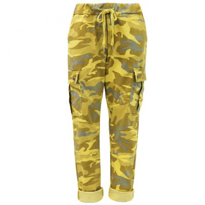 mustard, camo, cargo, stretchy, magic trousers, joggers