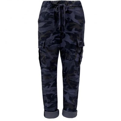 navy, camo, cargo, stretchy, magic trousers, joggers