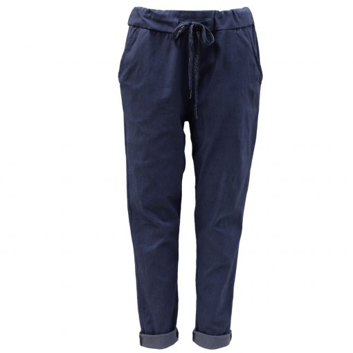 Navy, plain, stretchy, magic trousers, joggers