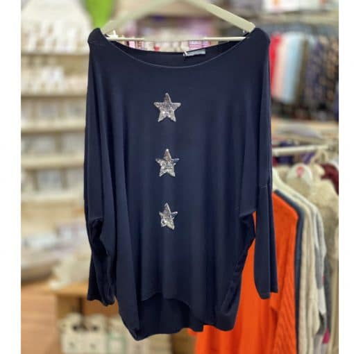 Navy, super soft, jumper, triple star, sparkle