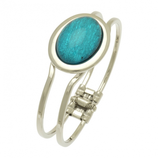 oval, resin, teal, miss milly, bangle, fb66