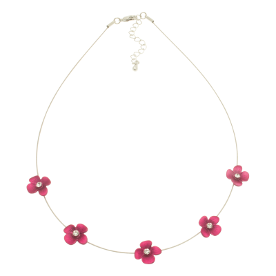 Pink , forget me not, short necklace, necklace, miss milly, fn154