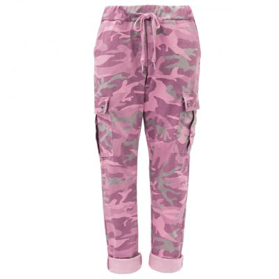 Pink, camo, cargo, stretchy, magic trousers, joggers