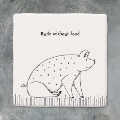 East of India, ceramic, porcelain, coaster, rude without food, pig