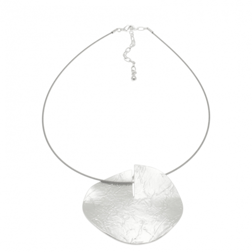 Silver Disc Necklace FN256 2
