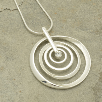 silver, swirl, short necklace, necklace, miss milly, fn132