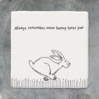 East of India, ceramic, porcelain, coaster, bunny, rabbit, some bunny loves you