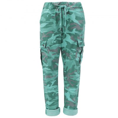 teal, camo, cargo, stretchy, magic trousers, joggers