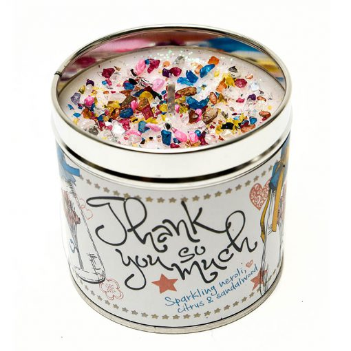 thank you candle, tinned candle, Sparkling, neroli, citrus, sandalwood, scented candle