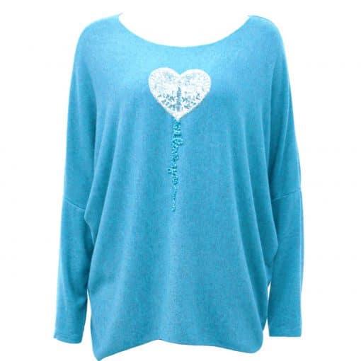 Turquoise , super soft, jumper, heart, sparkle