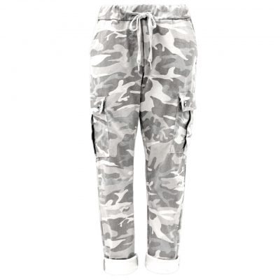White, camo, cargo, stretchy, magic trousers, joggers