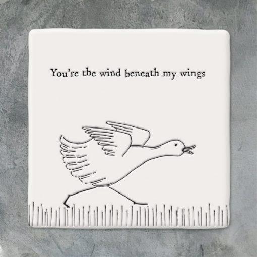 East of India, ceramic, porcelain, coaster, wind beneath my wings