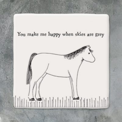East of India, ceramic, porcelain, coaster, happy when skies are grey, horse coaster, friends