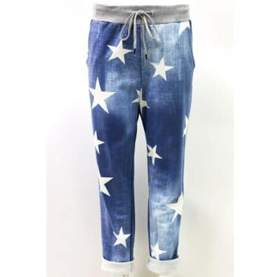 navy, star, stretchy, magic trousers, joggers